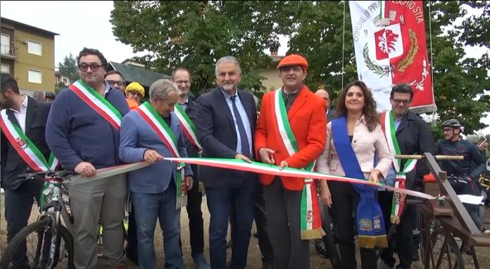 Ciclovia dell'Arno, Ceccarelli inaugura a Stia il 'tratto della sorgente'